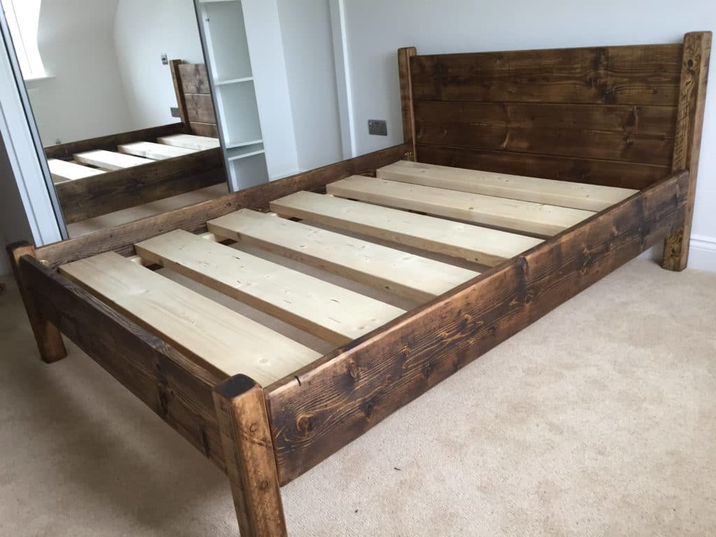 Camden Chunky Rustic Solid Pine Bed Frame With Headboard