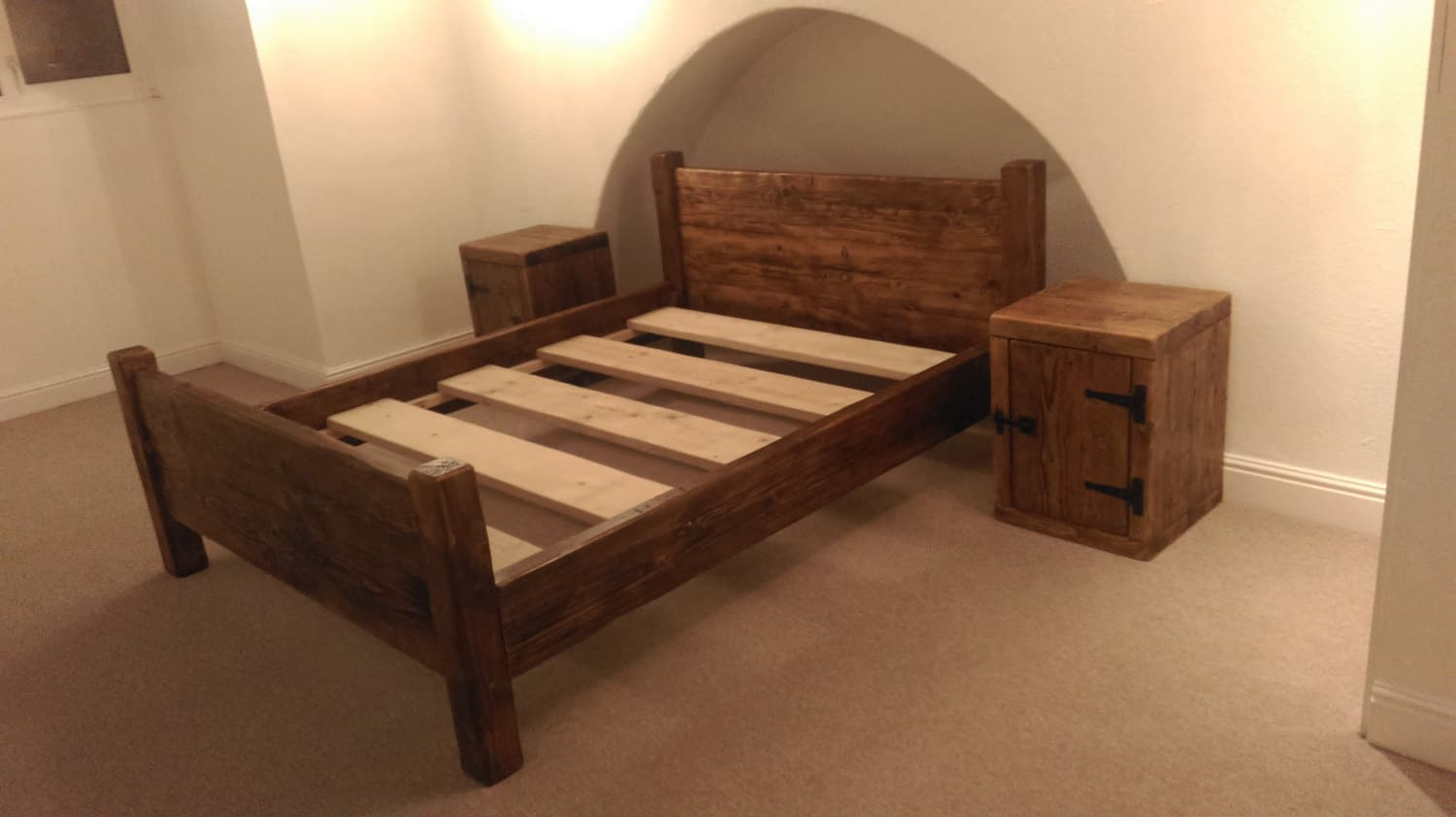 Dorset Chunky Rustic Solid Pine Bed Frame With Headboard