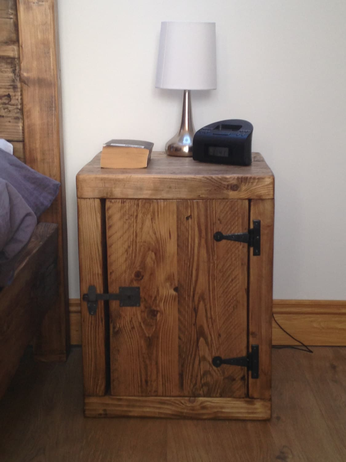 meet d1a58 47fe2 Bedside Cabinet Table Chunky Solid Rustic Pine Wood