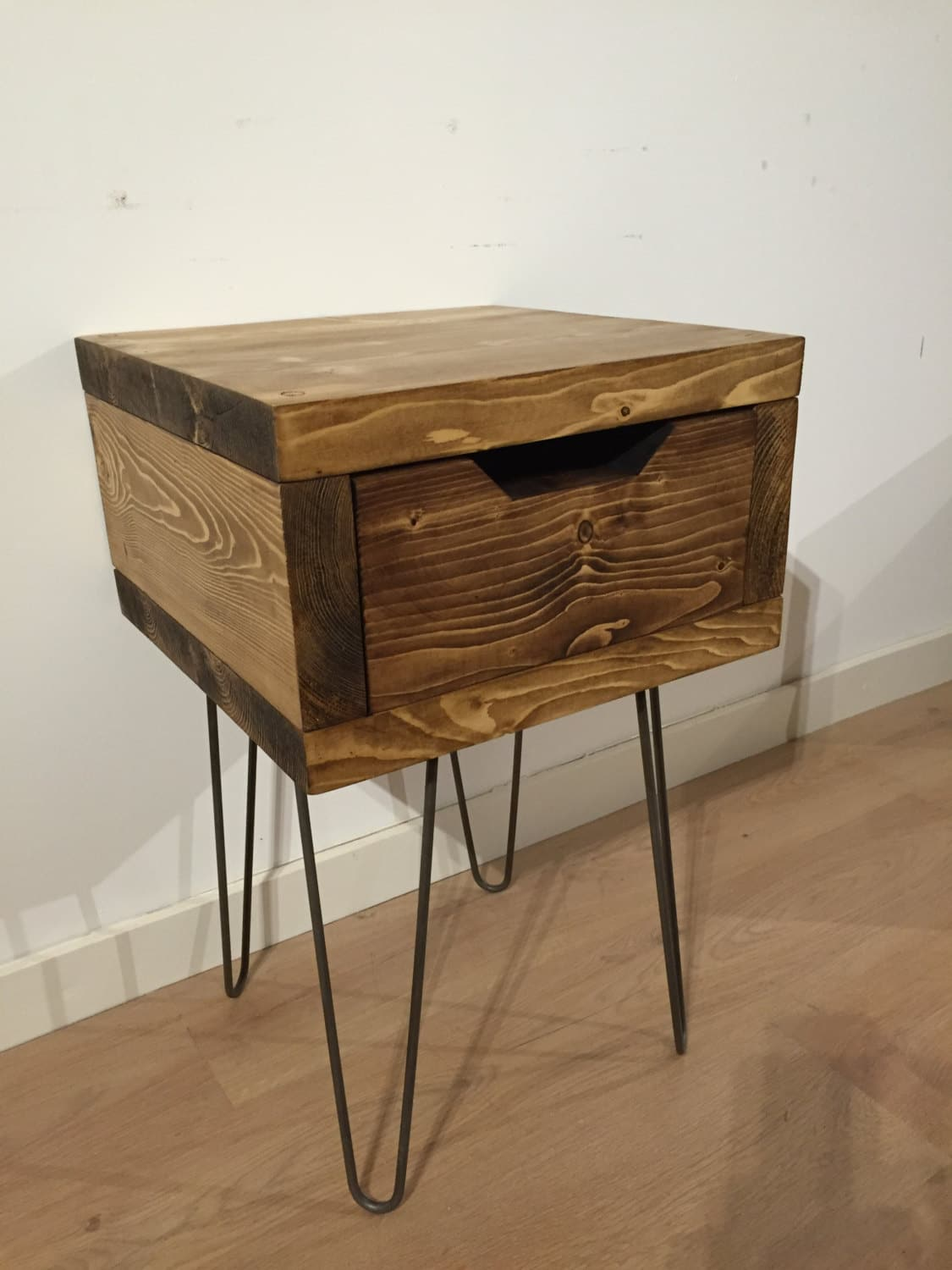 Solid Pine Bedside Box Table With Drawer