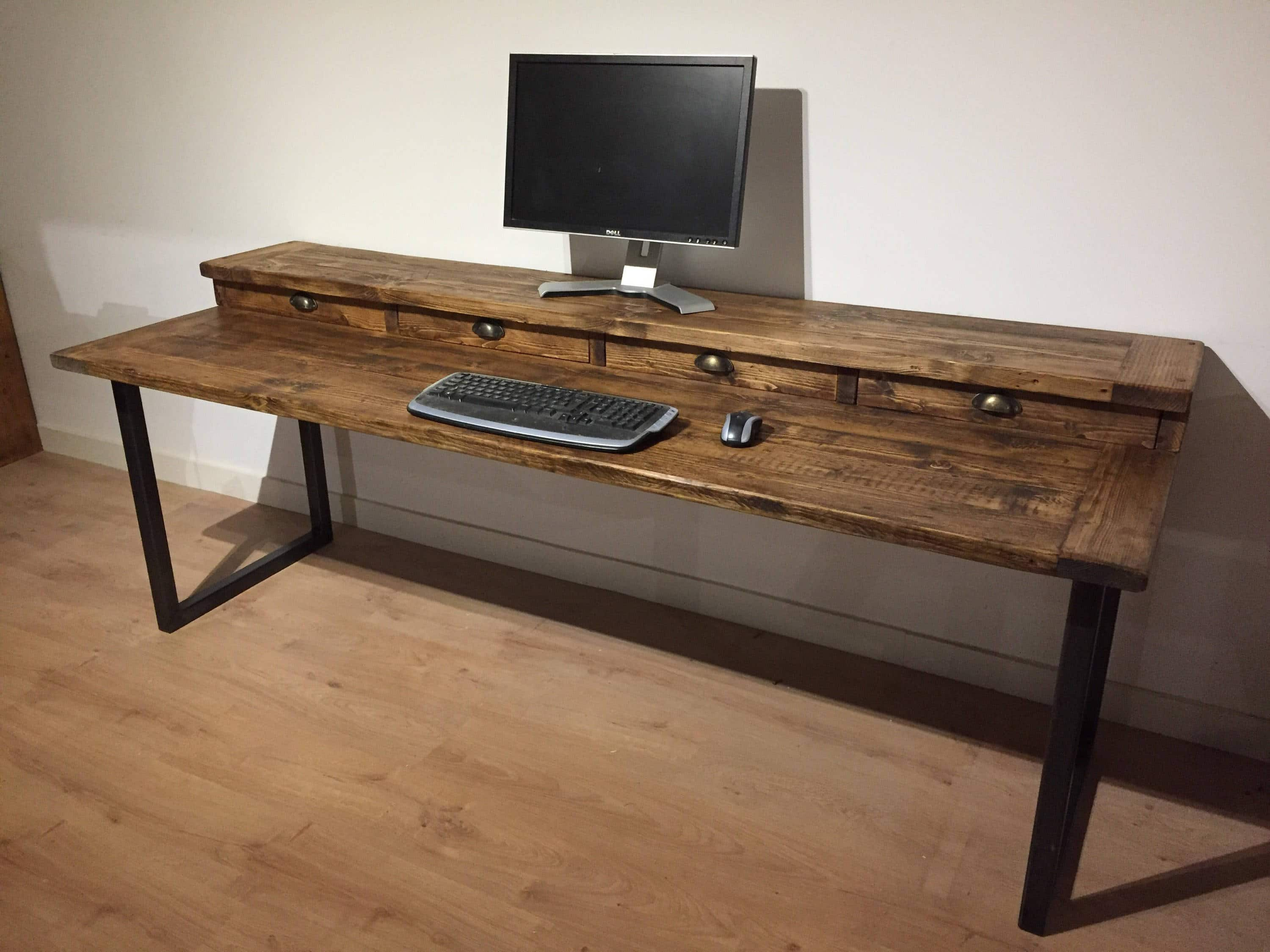 Bespoke Reclaimed Pine Extra Large Desk With 4 Drawers And Square Frame Steel Legs