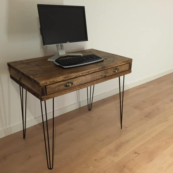 Reclaimed Pine Box Desk with Drawer & custom made cupboard - custom order for Alan