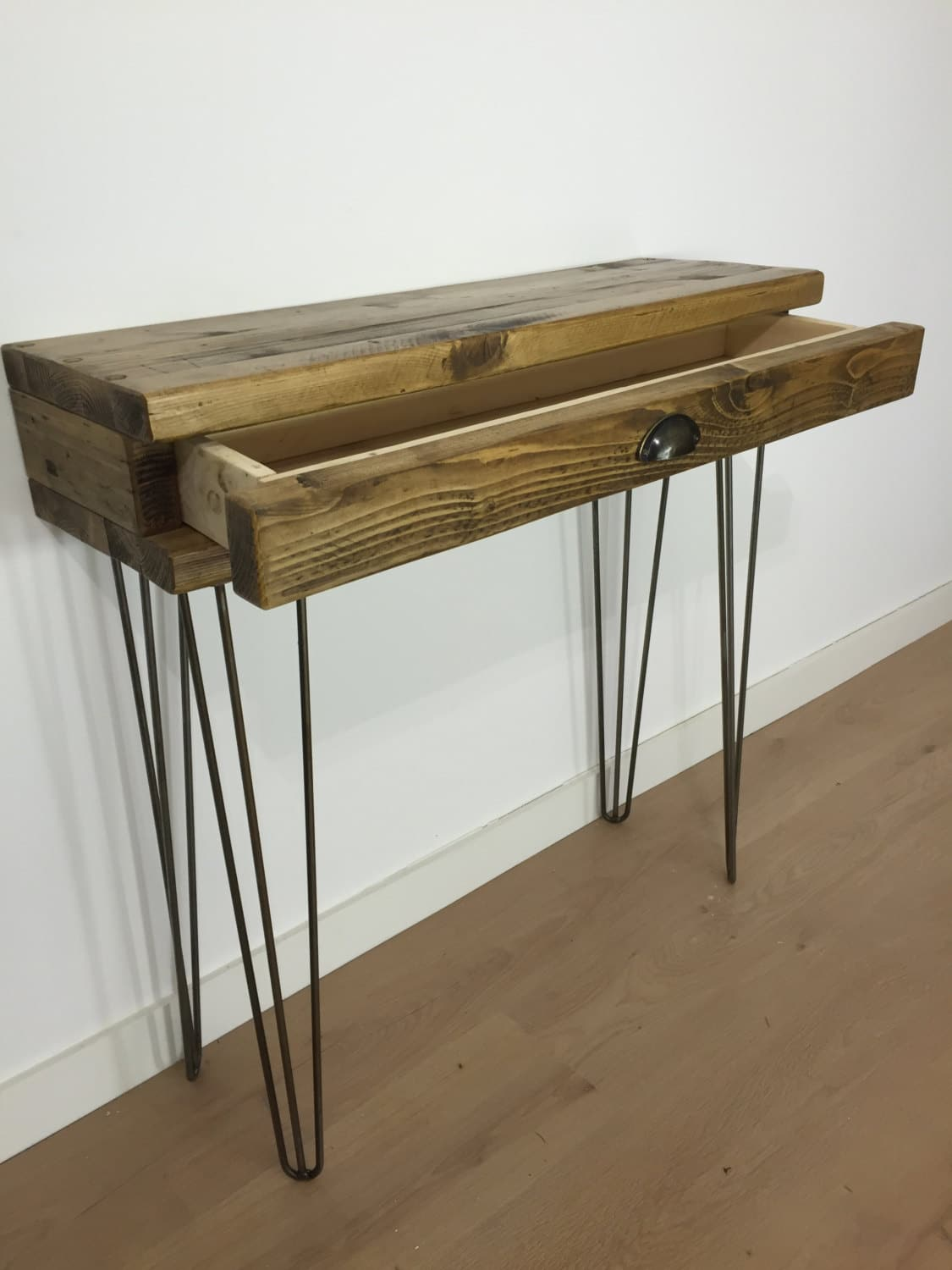 pretty nice 5f8c3 caf38 Reclaimed Pine Console Table with Drawer and Metal Hairpin Legs
