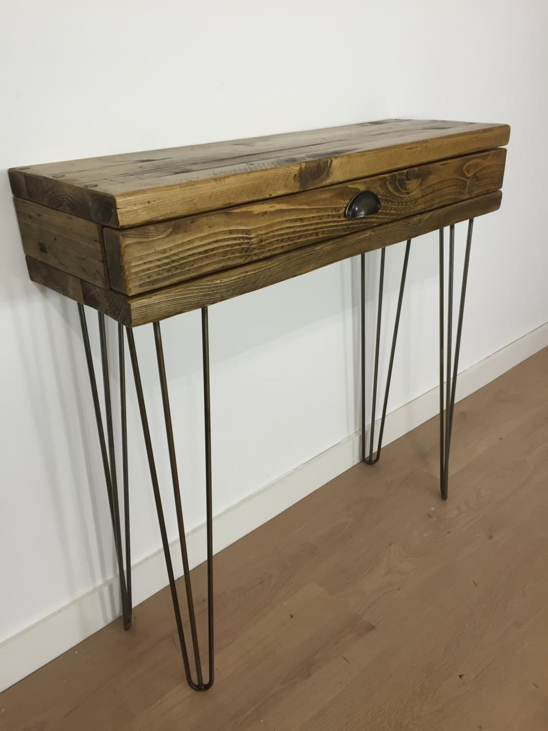 Reclaimed Pine Console Table With Drawer And Metal Hairpin Legs
