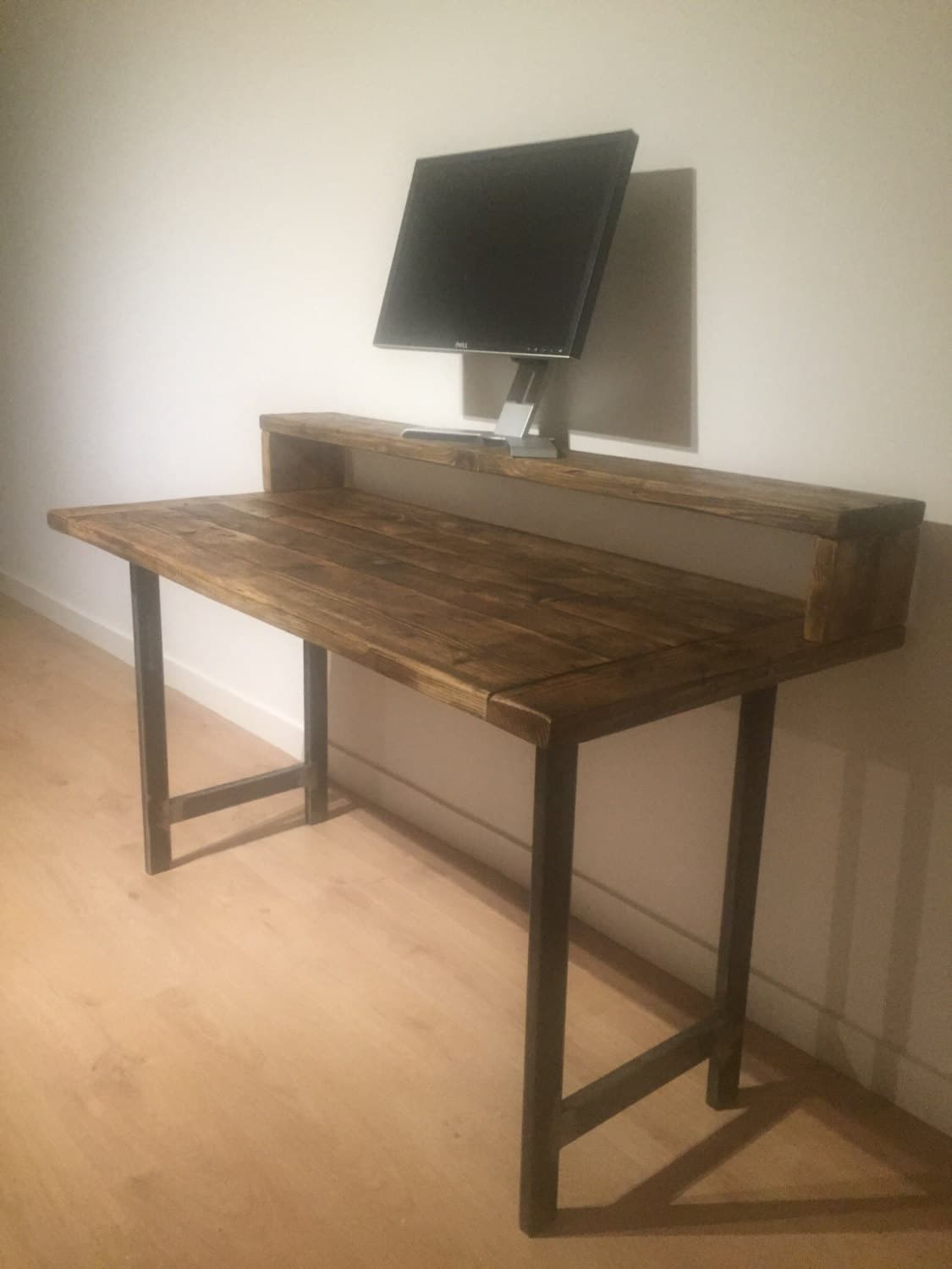 Reclaimed Solid Pine Desk Monitor Stand With Graded Steel Legs