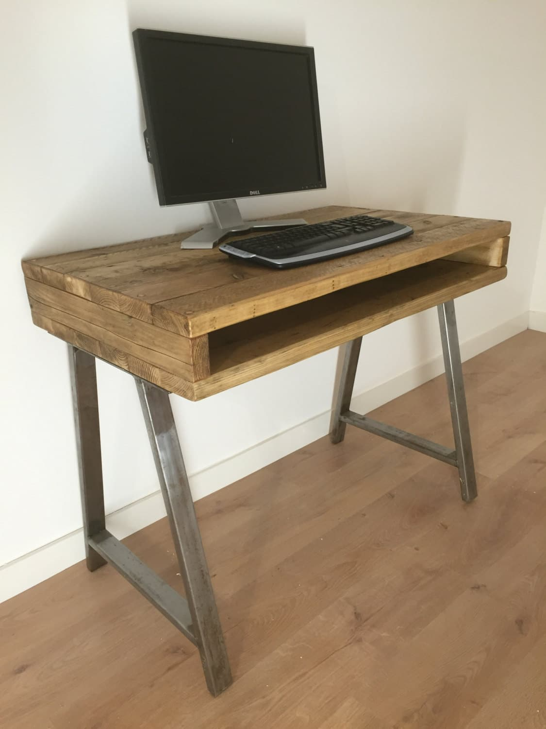 Reclaimed Rustic Solid Pine Box Desk With A Frame