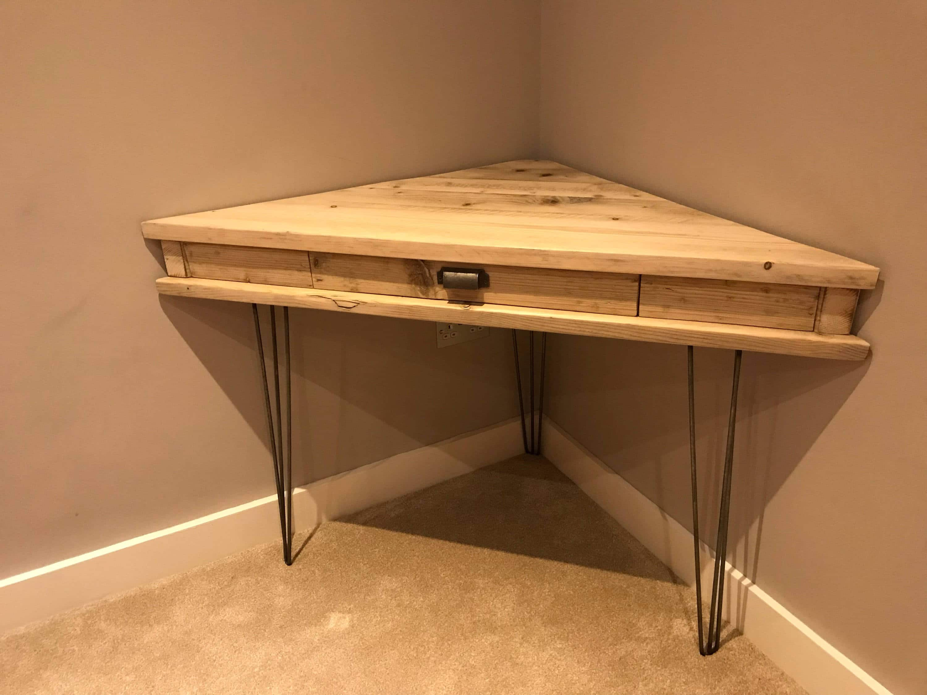 Reclaimed rustic solid pine corner box desk with drawer and metal hairpin legs newcointeriors - Pine corner desks ...