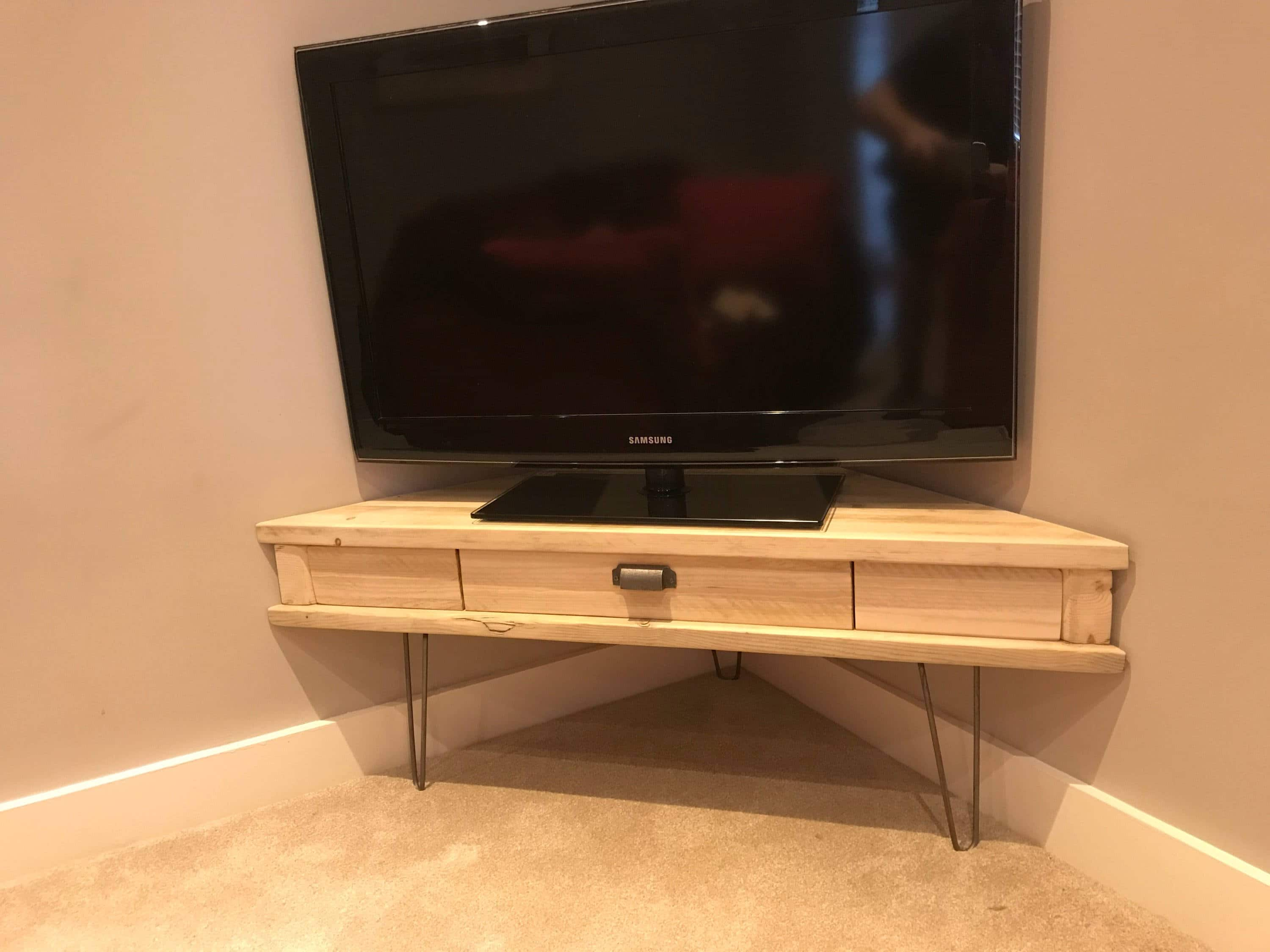 Reclaimed Rustic Solid Pine Corner Box Tv Unit With Drawer