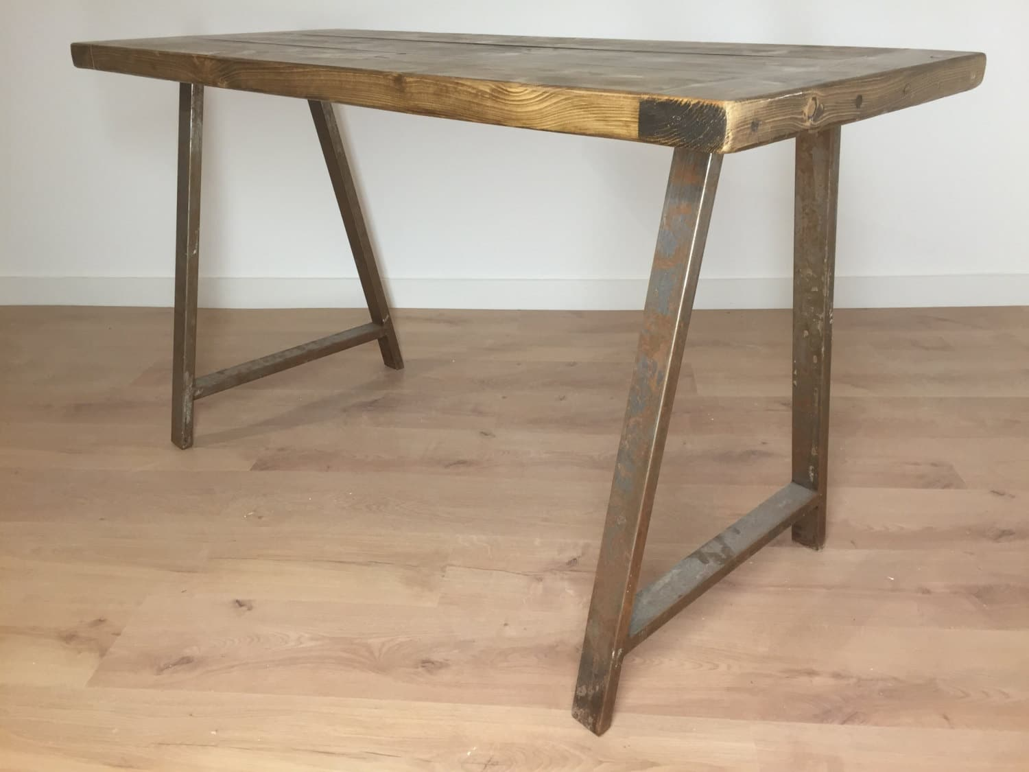 Reclaimed rustic pine kitchen dining side table