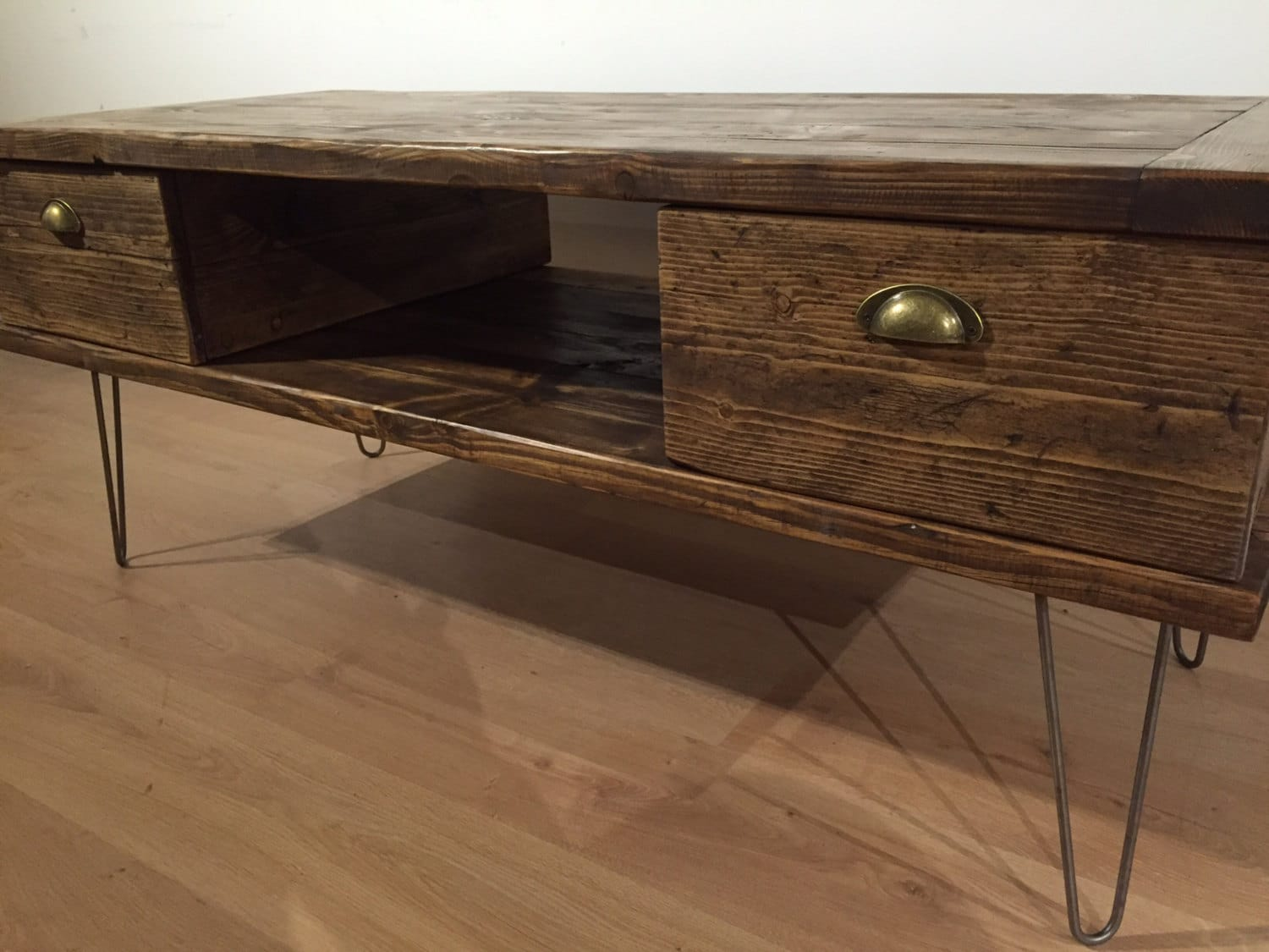 Reclaimed Solid Pine Tv Stand With 2 Drawers Metal Hairpin Legs