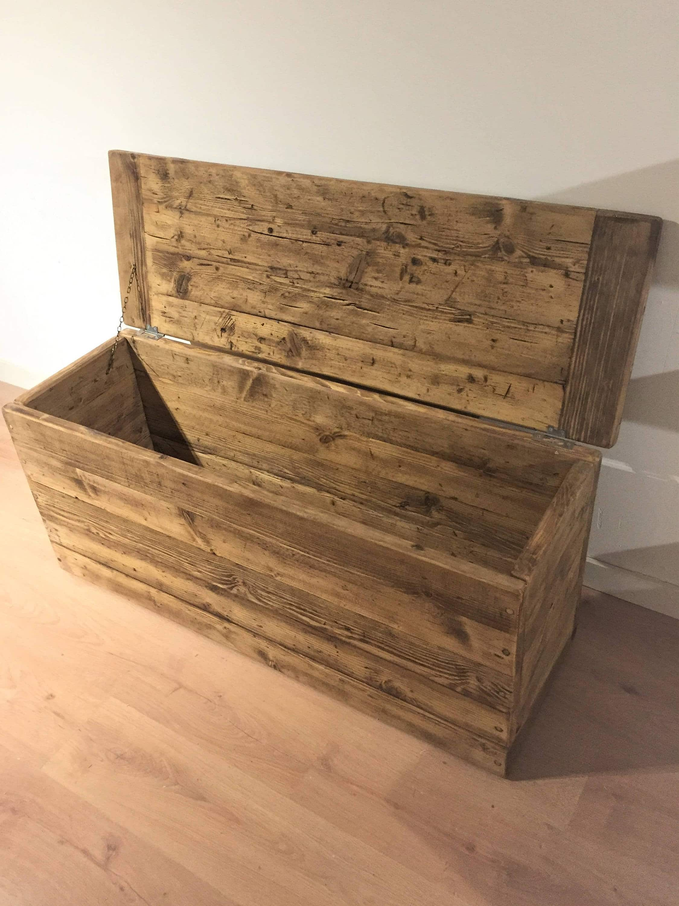 Delicieux Reclaimed Wooden Ottoman Or Blanket Storage Box