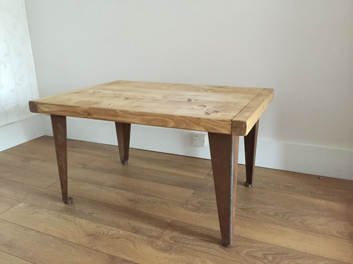 Rustic Pine Coffee Table With Metal Legs