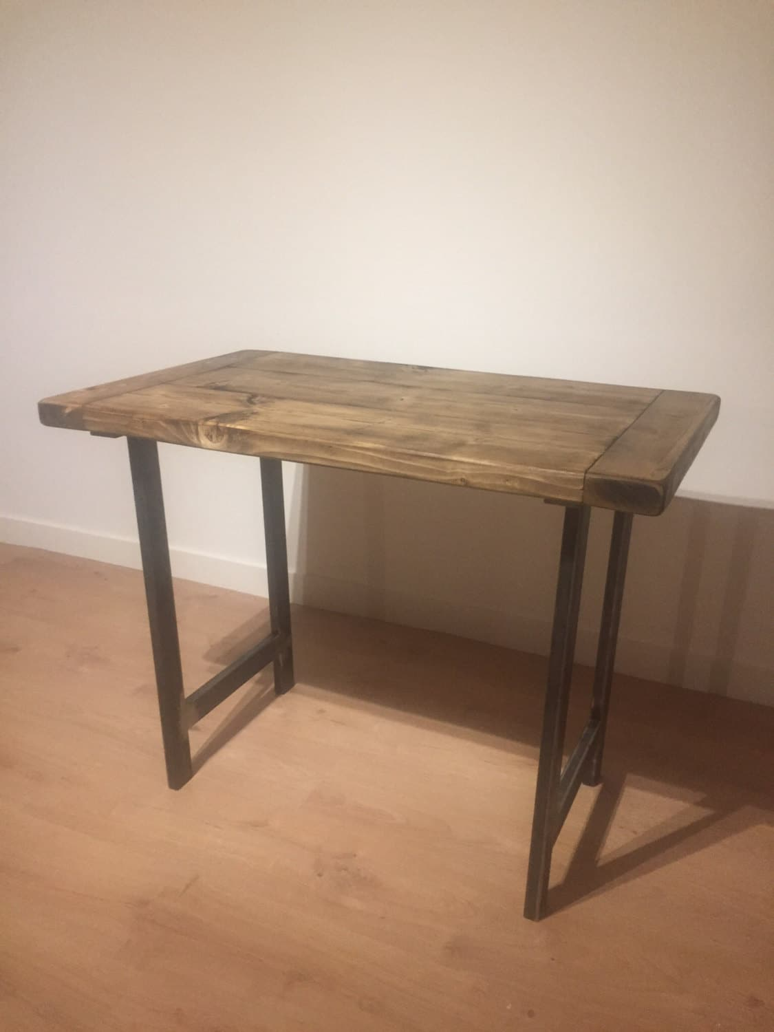 Rustic Solid Pine Desk With Graded Steel Legs