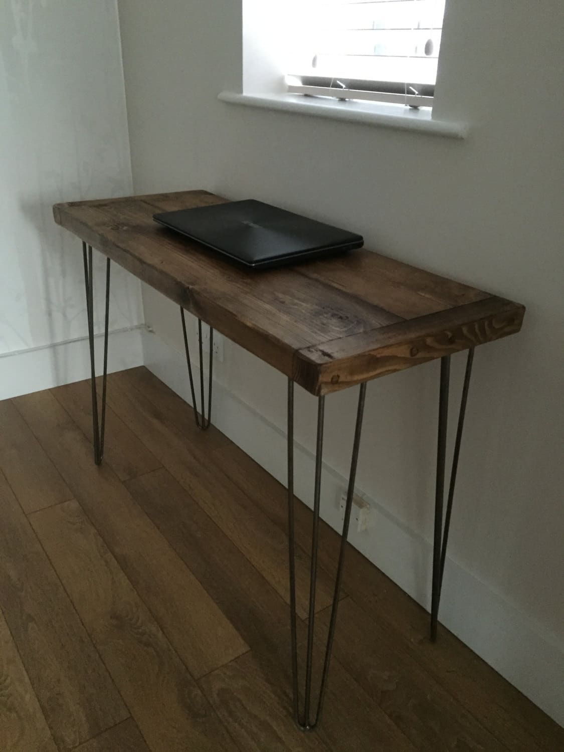 Rustic Solid Pine Desk With Metal