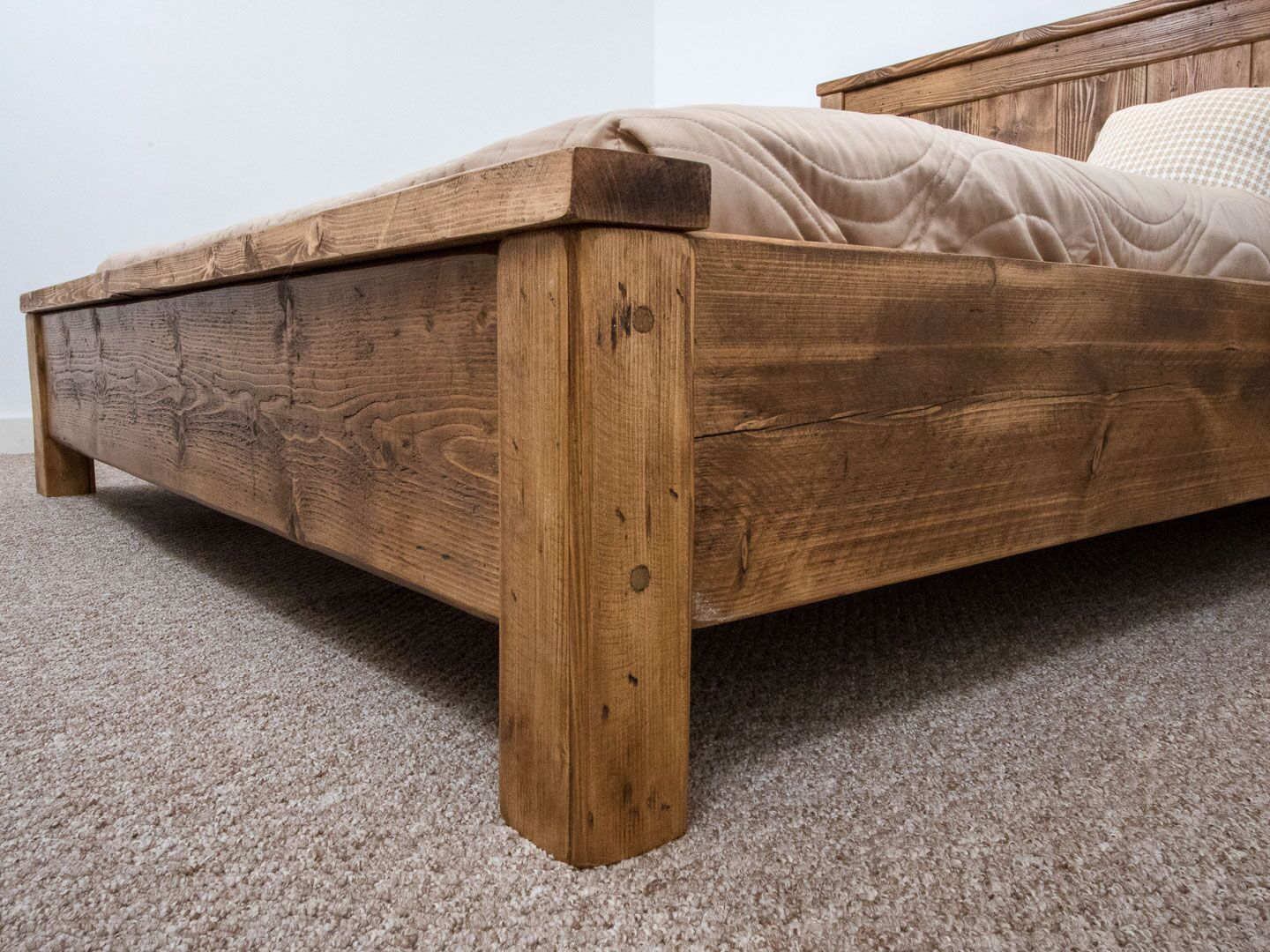 The York Bed Frame Chunky Reclaimed Pine Wood With Loft