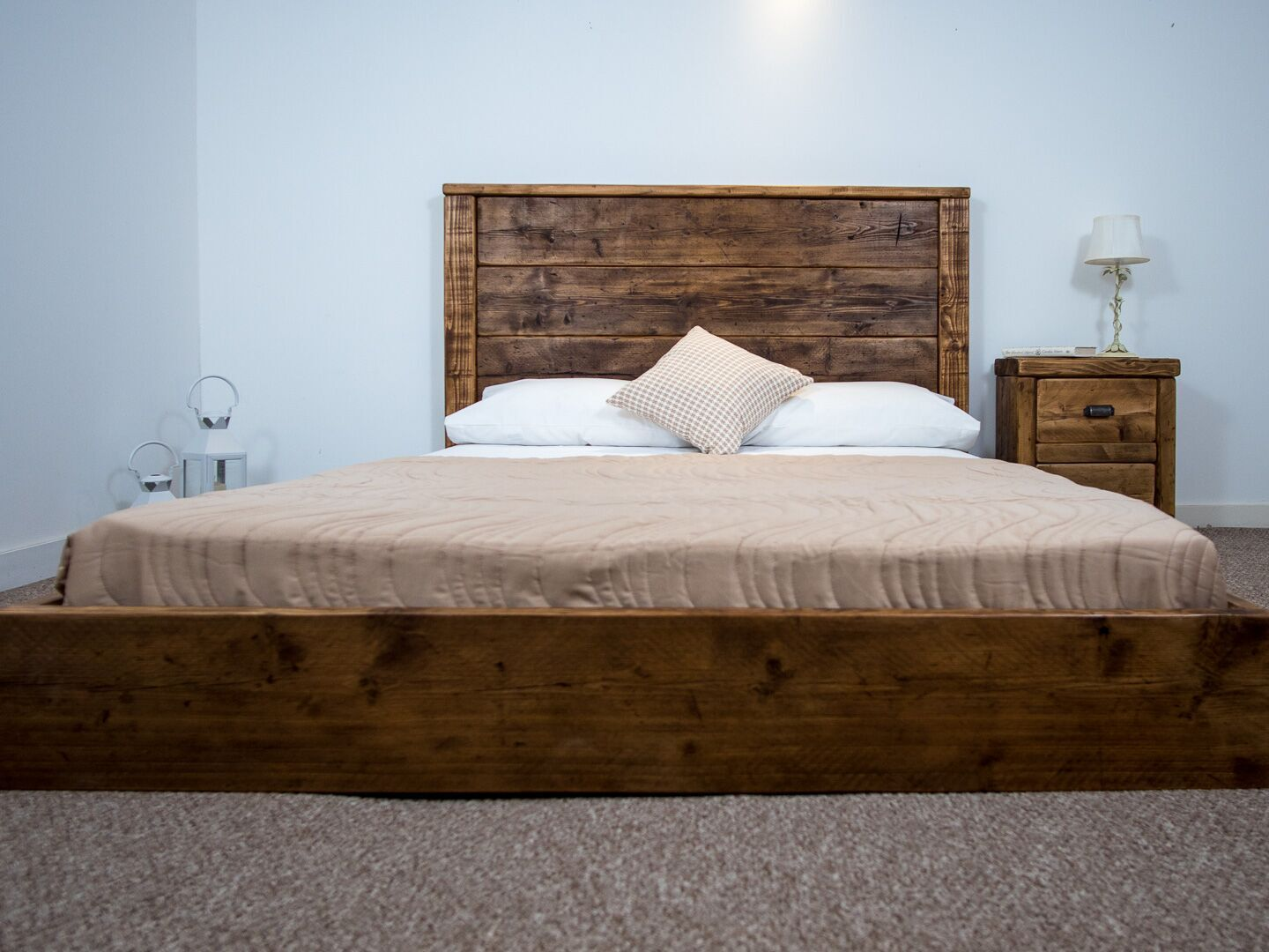 The York Platform Bed Frame Chunky Reclaimed Pine Wood All