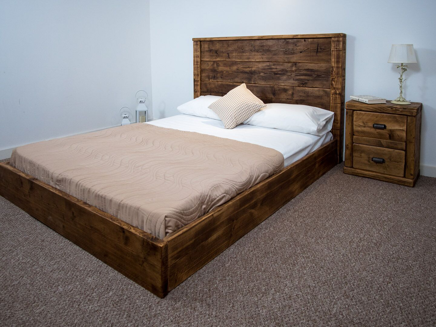 The York Platform Bed Frame Chunky reclaimed pine wood all sizes available  FREE UK DELIVERY