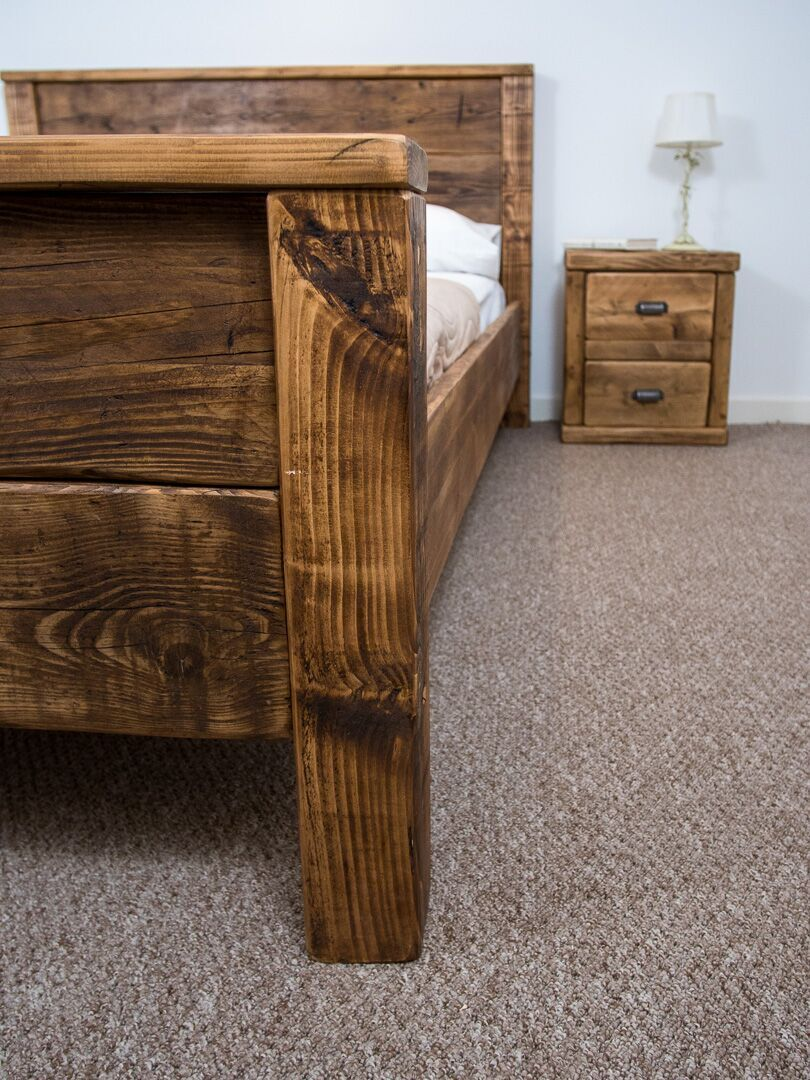 The York Bed Frame Chunky Reclaimed Pine Wood With