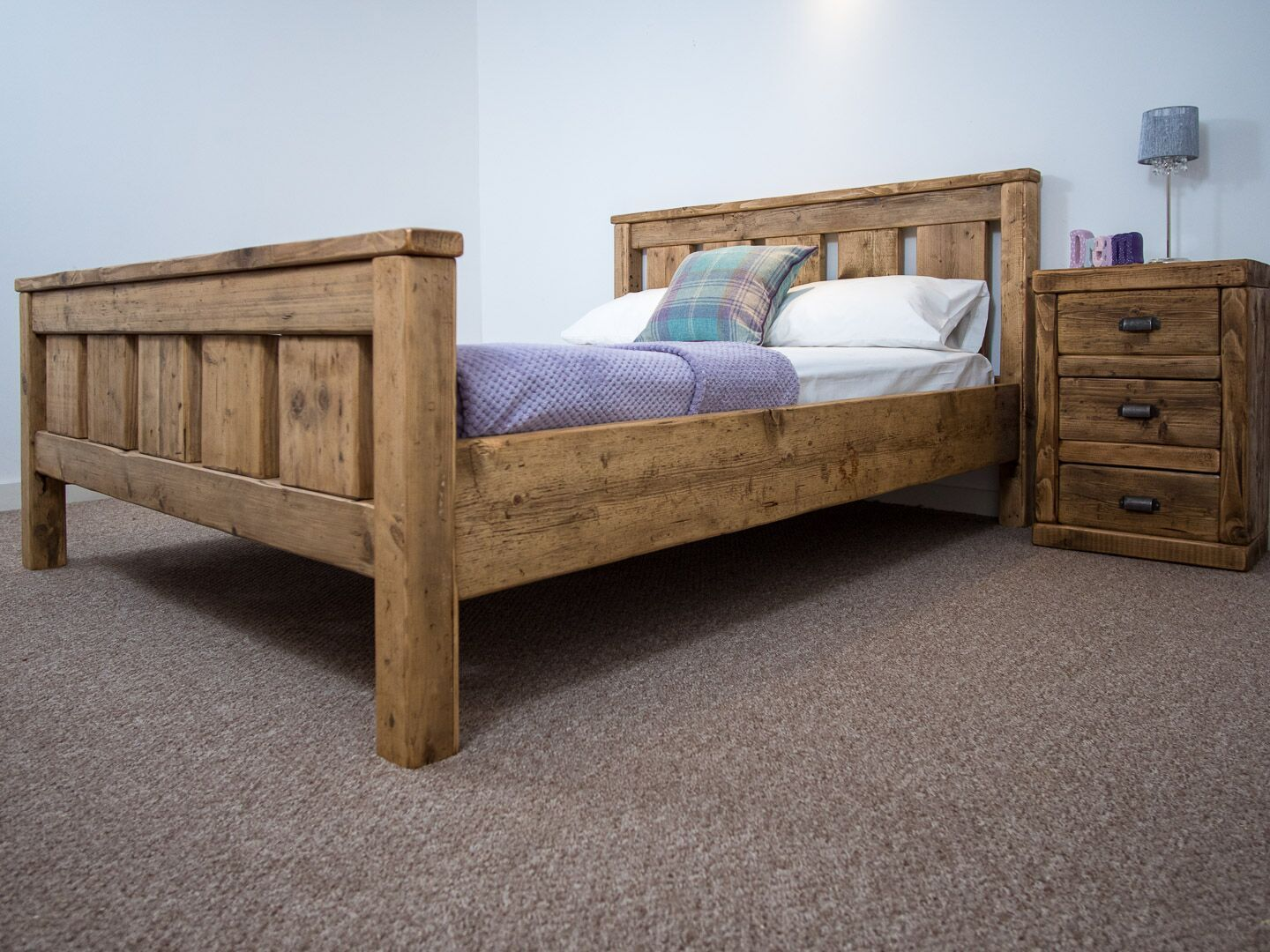 Bed Frame Chunky Reclaimed Pine Wood